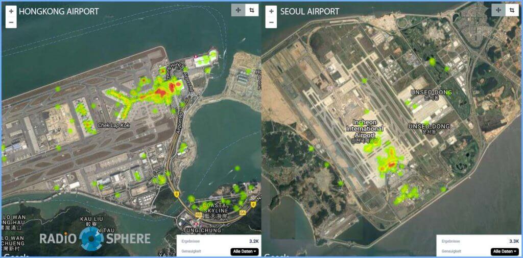Airports Seoul und Hong Kong: Heat Maps der Social Media Konversation